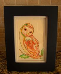 Art: BARN OWL PAINTING 4 X 6 by Artist Cyra R. Cancel