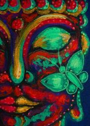 Art: BUDDHA WITH A BUTTERFLY 2 by Artist Cyra R. Cancel