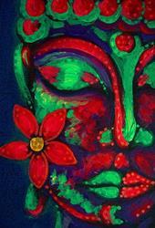 Art: BUDDHA WITH A FLOWER by Artist Cyra R. Cancel