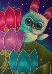 Art: EASTER TINY OWL  WITH BUNNY EARS IN MY GARDEN...HAPPY EASTER by Artist Cyra R. Cancel