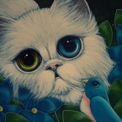 Art: SPRING PERSIAN CAT ODD EYES & BLUEBIRD 1 by Artist Cyra R. Cancel