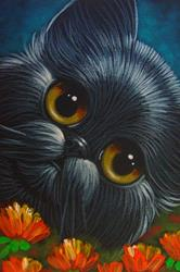 Art: SPRING BLACK PERSIAN CAT IN MY GARDEN - OSWOA 4 X 6 by Artist Cyra R. Cancel