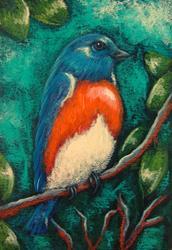 Art: SPRING BLUEBIRD IN MY GARDEN 1 by Artist Cyra R. Cancel