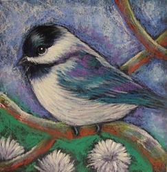 Art: SPRING CHICKADEE BIRD IN MY GARDEN 5 X 5 by Artist Cyra R. Cancel