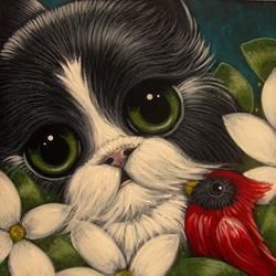 Art: SPRING TUXEDO PERSIAN CAT IN MY GARDEN WITH A CARDINAL BIRD by Artist Cyra R. Cancel