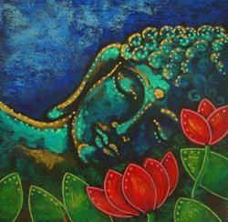 Art: BUDDHA IN MY GARDEN 5 X 5 by Artist Cyra R. Cancel