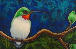 Art: RUBY HUMMINGBIRD IN MY GARDEN 1 - OSWOA 4 X 6 by Artist Cyra R. Cancel