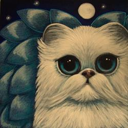 Art: WHITE PERSIAN ANGEL CAT with BLUE WINGS 5 X 5 by Artist Cyra R. Cancel