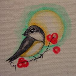 Art: ORIGINAL TINY CHICKADEE BIRD MINI PAINTING by Artist Cyra R. Cancel