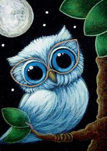 Detail Image for art BABY BLUE OWL with NEW GLASSES