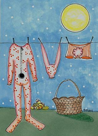 Art: Easter Bunny Laundry Day by Artist Sherry Key