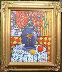 Art: Roses Dans Un Vase Pourpre by Artist Virginia Kilpatrick