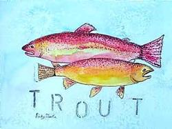 Art: Nice Pair Of Rainbow Trout by Artist Ulrike 'Ricky' Martin