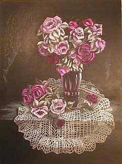 Art: Victorian Lady's Crimson Roses by Artist Kimberly S Knopf