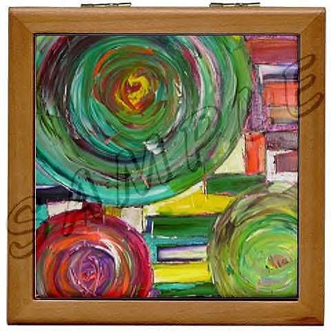Art: TEMPEST WOOD TILE JEWELRY BOX by Artist Dawn Hough Sebaugh