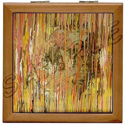 Art: SOUL SEARCHER WOOD PORCELAIN TILE JEWELRY BOX  by Artist Dawn Hough Sebaugh