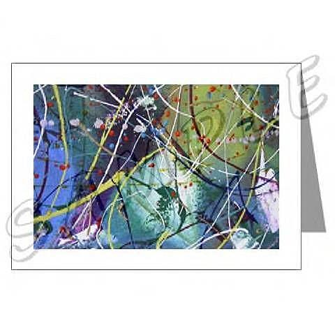 Art: ABSTRACT ART GREETING CARDS MOON FANTASY DAWN EBSQ wwao by Artist Dawn Hough Sebaugh