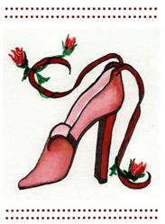 Art: Red shoe with Rose Buds by Artist Marcia Ruby