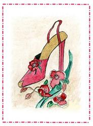 Art: Pink Shoe with Flowers by Artist Marcia Ruby