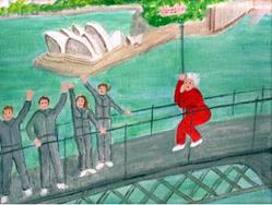 Art: Gran Finishes Her Bridge Climb by Artist Fran Caldwell