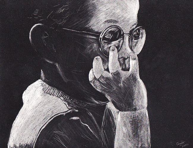 Art: Nickel Scratchart by Artist Amy J Hipple