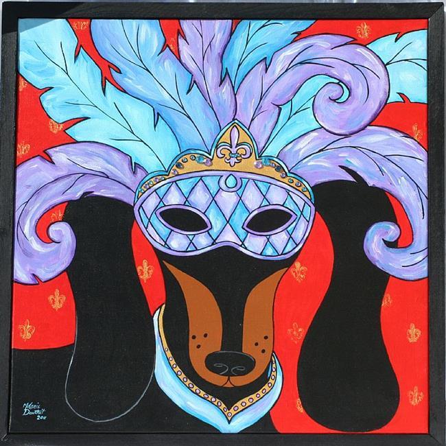 Art: Mardi Gras Dachshund Krewe by Artist Melanie Douthit