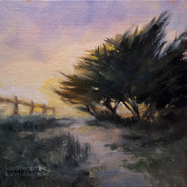 Art: coastal cypress carpinteria oil painting 6 x 6 b by Artist Karen Winters
