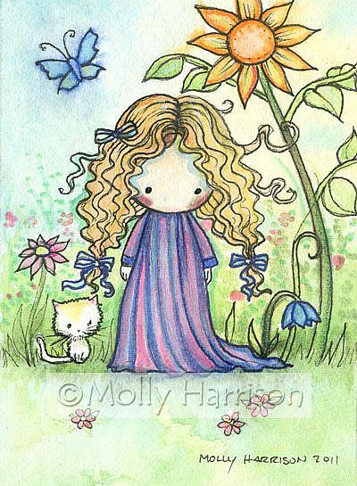Art: aceo cutie with orange kitty copy by Artist Molly Harrison