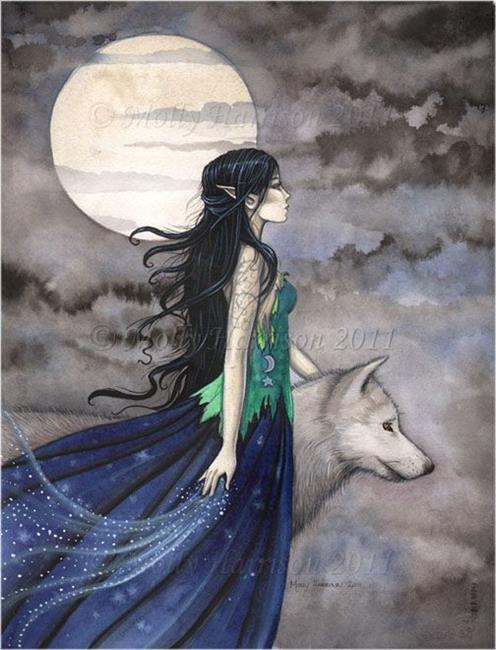 Art: nightofthewolffull by Artist Molly Harrison