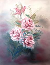 Art: CLS012   3 Pink Roses by Artist Marion Dutton