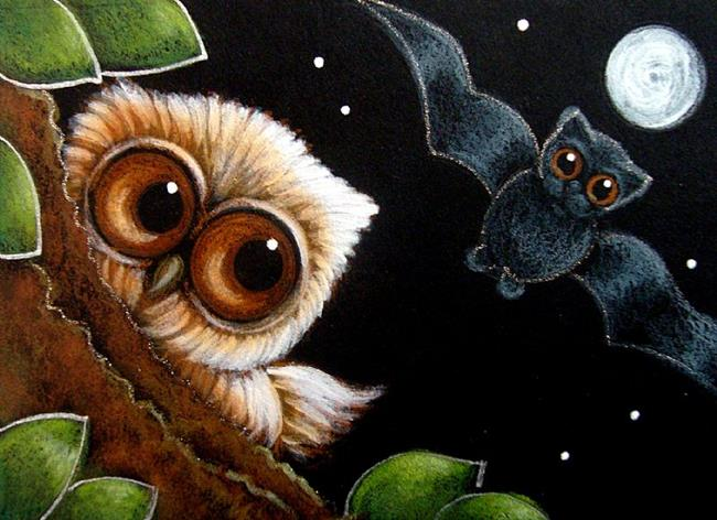 Art: BABY OWL MET THE BAT by Artist Cyra R. Cancel
