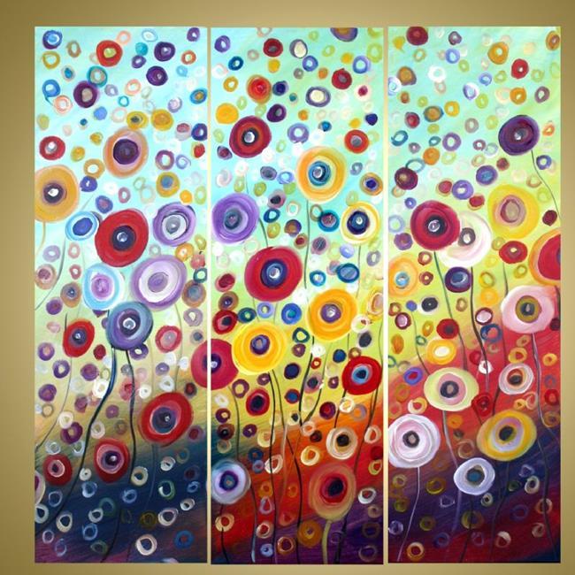 Art: custom painting fantasy flowers1 by Artist LUIZA VIZOLI