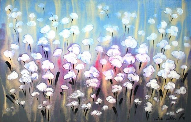 Art: Purple Dancing Flowers (s) by Artist Luba Lubin