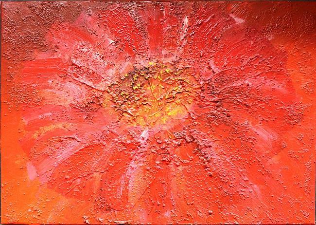 Art: Red Flower (a) by Artist Luba Lubin