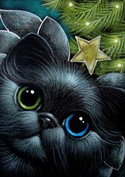 Art: HOLIDAY BLACK ANGEL CAT ODD EYES WITH STAR by Artist Cyra R. Cancel