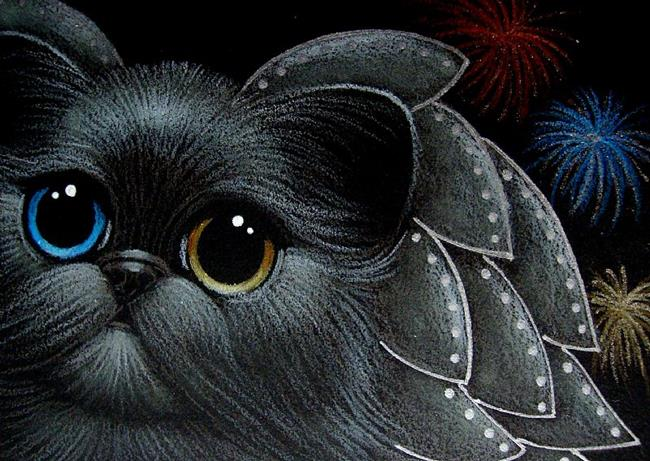 art holiday angel cat odd eyes happy new year from heaven by artist cyra r