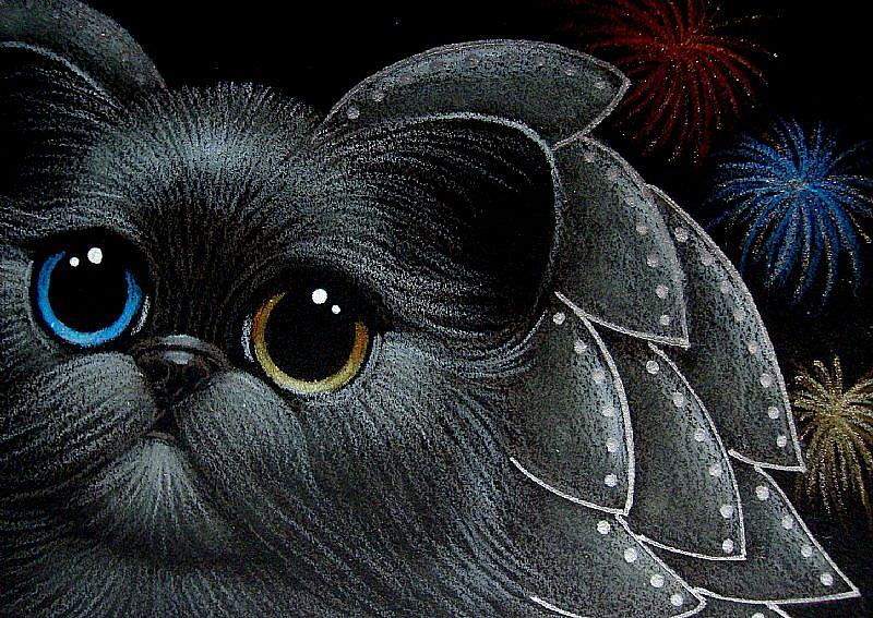 detail image for art holiday angel cat odd eyes happy new year from heaven