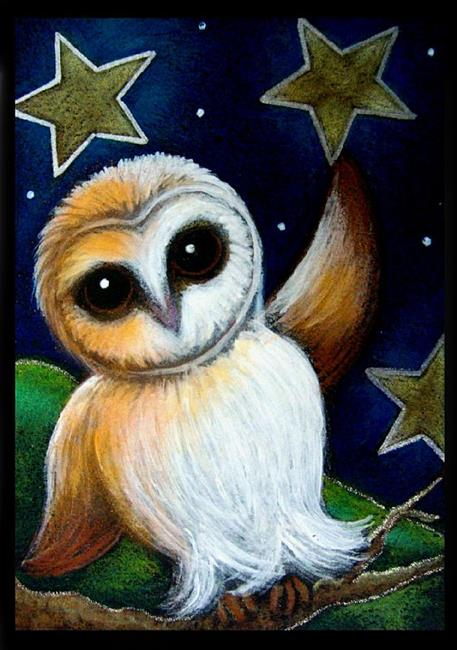 Art: LITTLE BARN OWL PLAYING WITH THE STARS by Artist Cyra R. Cancel
