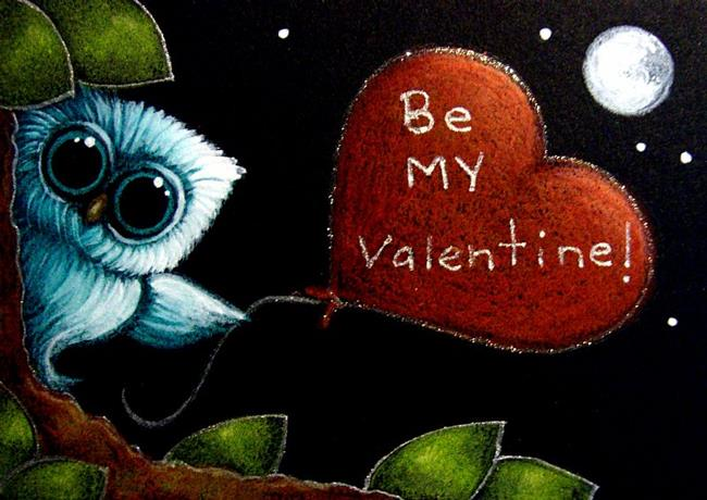 Art: LITTLE AQUA OWL - BE MY VALENTINE HEART BALLOON by Artist Cyra R. Cancel