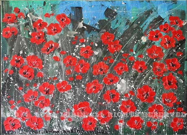 Art: Red Flowers (s) by Artist Luba Lubin