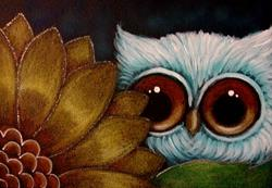 Art: LITTLE OWL BEHIND THE SUNFLOWER by Artist Cyra R. Cancel