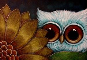 Detail Image for art LITTLE OWL BEHIND THE SUNFLOWER