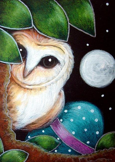 Art: BARN OWL WITH EASTER EGG by Artist Cyra R. Cancel
