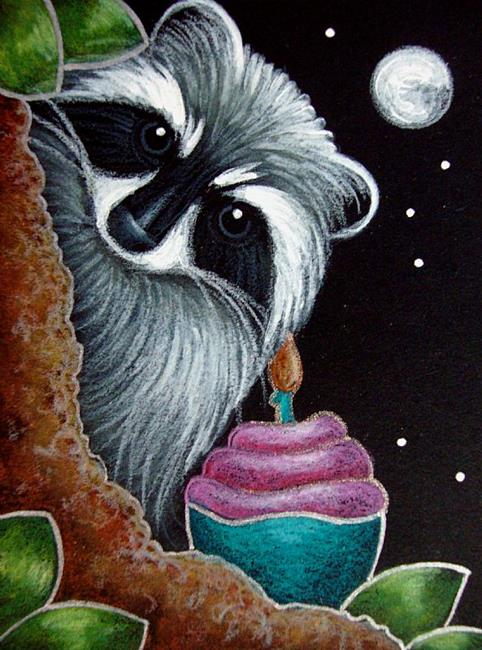 Art: FANTASY RACCOON - YOUR BIRTHDAY CUPCAKE by Artist Cyra R. Cancel