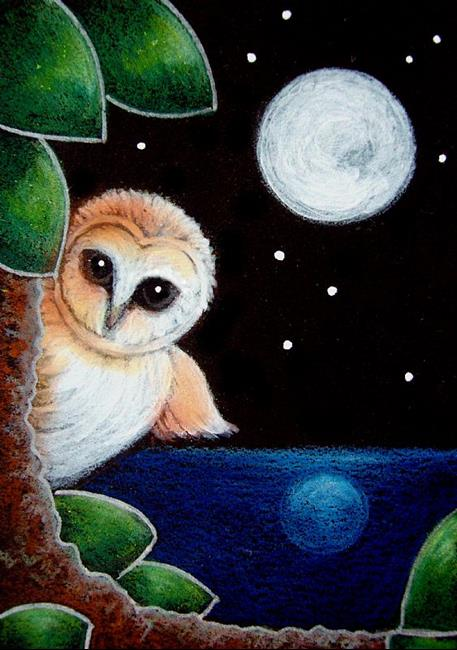 Art: LITTLE BARN OWL - THE MOON REFLECTION by Artist Cyra R. Cancel