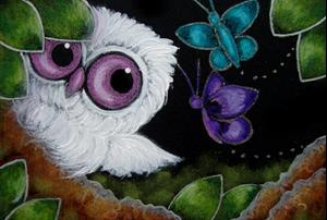 Detail Image for art LITTLE ALBINO OWL - 2 FRIENDLY BUTTERFLIES