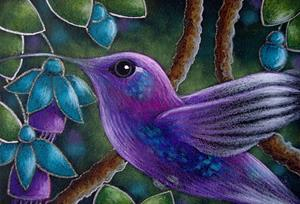 Detail Image for art VIOLET SABREWING HUMMINGBIRD WITH FUSCHIA FLOWERS