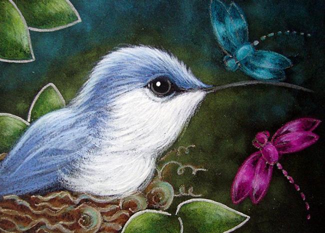 Art: TINY BLUE HUMMINGBIRD MET THE DRAGONFLIES by Artist Cyra R. Cancel