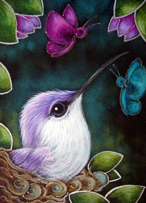 Art: TINY VIOLET HUMMINGBIRD MET THE BUTTERFLIES by Artist Cyra R. Cancel
