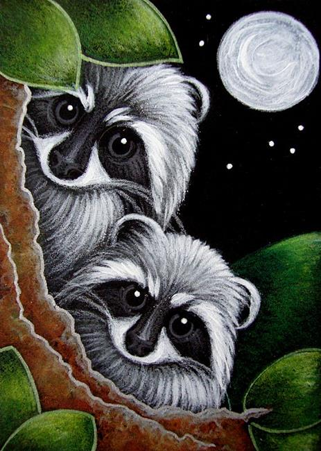 Art: LITTLE RACCOONS - WHERE IS MOM? by Artist Cyra R. Cancel